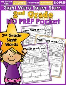 2nd Grade Sight Words Super Stars NO PREP Packet
