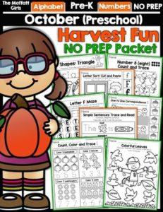 October Preschool NO PREP Packet