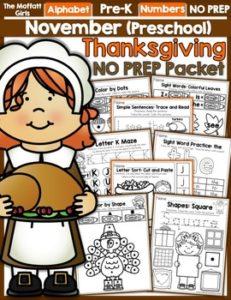 November Preschool NO PREP Packet