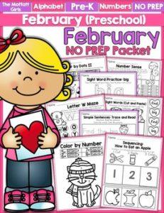 February Preschool NO PREP Packet