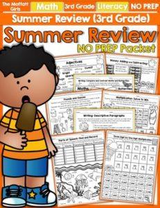 Summer Review 3rd Grade NO PREP Packet