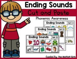 Phonemic Awareness Cut and Paste: Ending Sounds