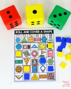 Kindergarten Math, Kindergarten, Shapes, Common Core Math, Roll and Cover, Math Games